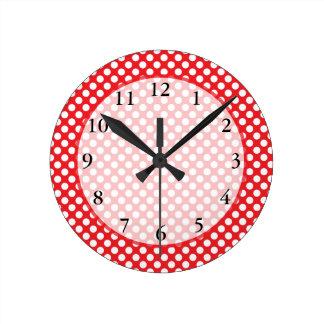 White and Red Polka Dot Round Clock