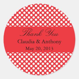White and Red Polka Dot Wedding Thank You Round Sticker