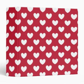 White and red polka hearts binders