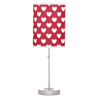 White and red polka hearts table lamp