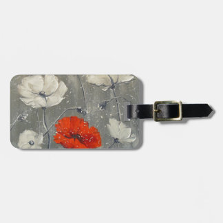 White and red poppies bag tag