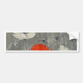 White and red poppies bumper sticker