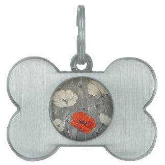 White and red poppies pet tags