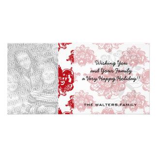 white and red romance damask pattern custom photo card
