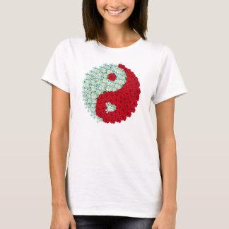 White and Red roses Yin Yang shirt