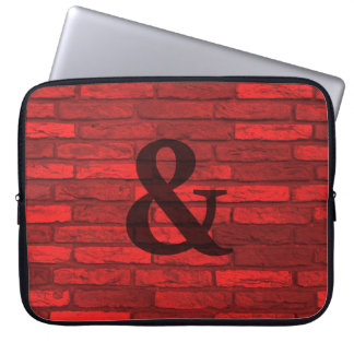 White and Red Rustic Brick Ampersand Country Laptop Sleeve