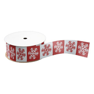 White and Red Snowflakes Grosgrain Ribbon