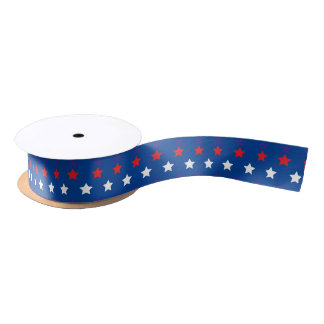 White and Red Stars on Blue Background Satin Ribbon