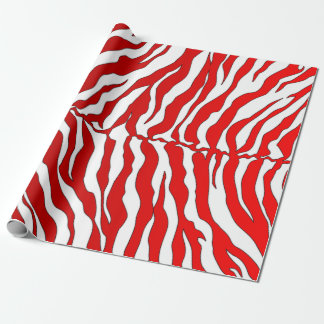 White And Red Tiger Stripes Animal Print Wrapping Paper