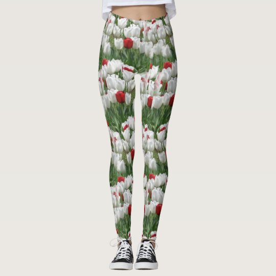 White and Red Tulips Leggings