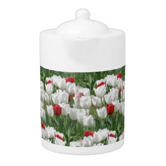 White and Red Tulips Teapot