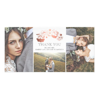 White and Rose Gold Floral Wedding Thank You Photo Greeting Card