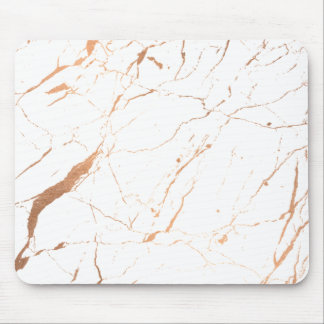 White and Rose Gold Marble Designer Mouse Pad