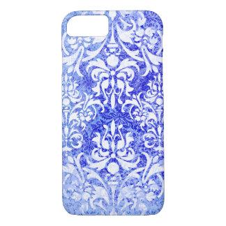 White and Royal Blue Grunge Vintage Damask iPhone 7 Case