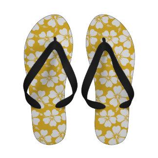 White and Saffron Hibiscus Pattern Flip-Flops
