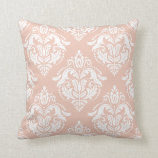 White And Salmon Pink Damasks Throw Pillow