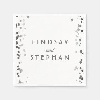 White and Silver Confetti Dots Wedding Disposable Napkin