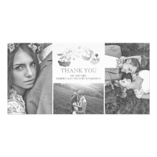 White and Silver Floral Wedding Thank You Photo Greeting Card