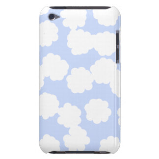 White and Sky Blue Clouds Pattern. Barely There iPod Cases