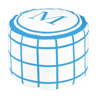 White and Summer Blue Lattice Monogram Pouf