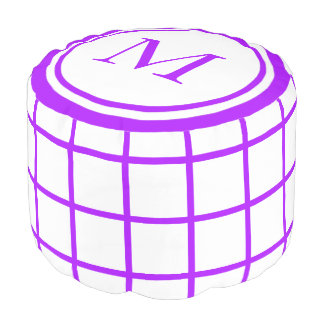 White and Summer Grape Lattice Monogram Pouf
