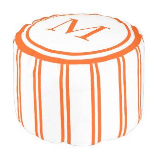White and Summer Orange Double Stripe Monogram Pouf