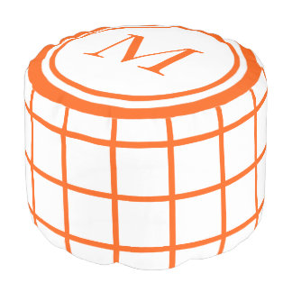White and Summer Orange Lattice Monogram Pouf