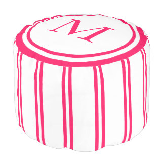 White and Summer Pink Double Stripe Monogram Pouf