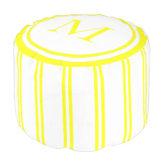 White and Sunshine Yellow Double Stripe Monogram Pouf