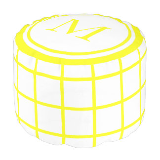 White and Sunshine Yellow Lattice Monogram Pouf
