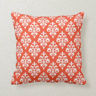 White and Tangerine Orange Damask Throw Pillow