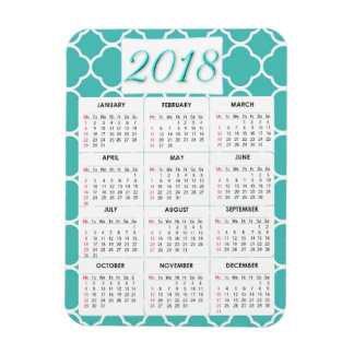 White and Teal Abstract 2018 Calendar Magnet