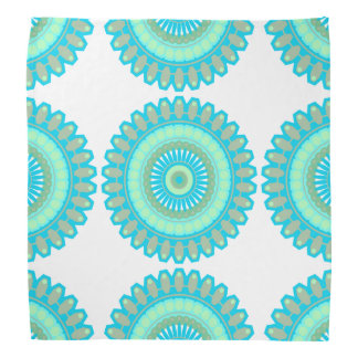 White and Teal Mandala Modern Art Bandanna