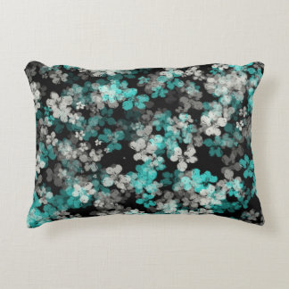 White and Teal Night Flower Shower Accent Pillow