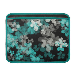 White and Teal Night Flower Shower Laptop Sleeve