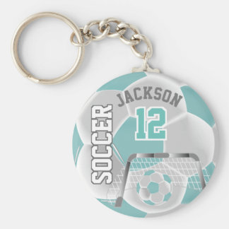 White and Teal Team Soccer Ball Keychain