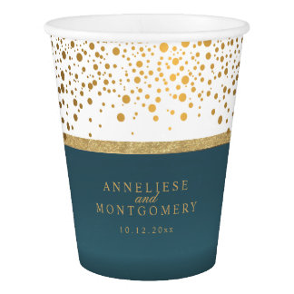 White and Teal with Gold Confetti Dots Paper Cup