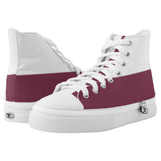 White and True Maroon Two-Tone Hi-Top