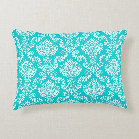 White and Turquois Damask Pattern{pick your Accent Pillow