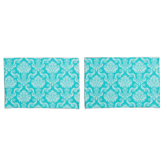 White and Turquois Damask Pattern{pick your color} Pillowcase