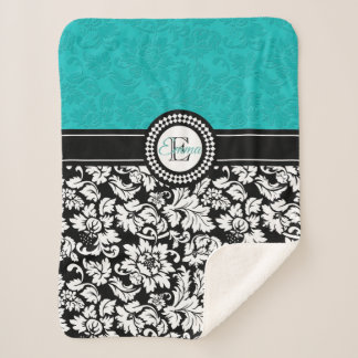 White And Turquoise Damask Pattern Sherpa Blanket