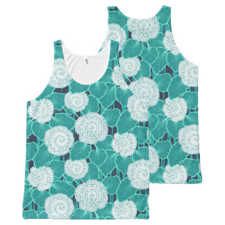 White and Turquoise Muffin Fleur All-Over-Print Tank Top