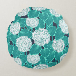 White and Turquoise Muffin Fleur Round Pillow