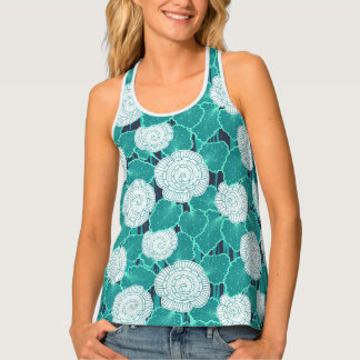 White and Turquoise Muffin Fleur Tank Top