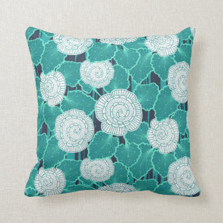 White and Turquoise Muffin Fleur Throw Pillow