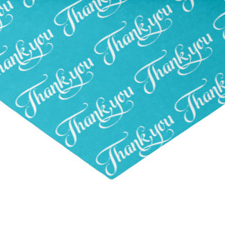 White And Turquoise Thank You Pattern Tissue Paper