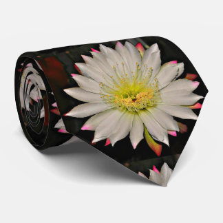 White and Yellow Cactus Bloom Men's Tie