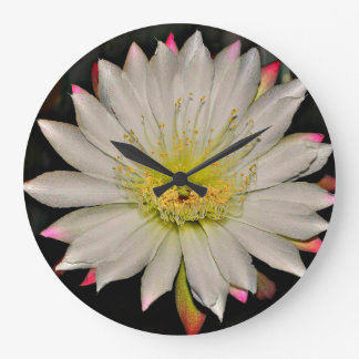 White and Yellow Cactus Bloom Wall Clock