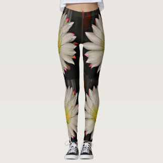 White and Yellow Cactus Bloom Women's Leggings. Leggings