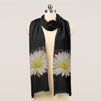 White and Yellow Cactus Bloom Women's Scarf